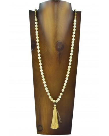 Collar largo discos de madera bolas de piedra natural