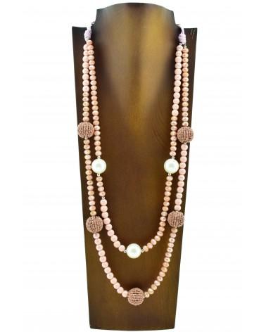 Collar largo 2 niveles con bolas y perlas
