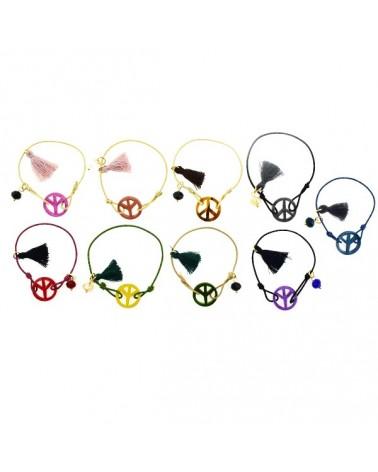 Pack 12uds de pulseras elásticas símbolo de la paz