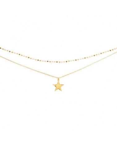 Collar doble acero estrella