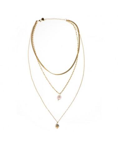 Collar triple acero perla costilla de adán