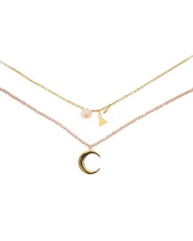 Collar doble acero piedras con luna