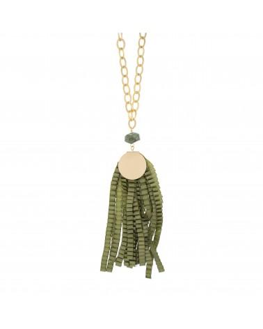 Collar largo piedra natural con tiras de tela plisada